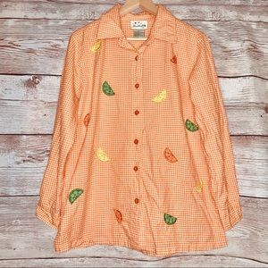 The Quacker Factory Gingham Fruit Embroidered Top